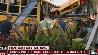School bus crashes into pole in Clearwater, driver injured