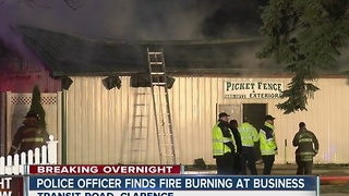 Amherst police officer finds fire burning during patrol - Video