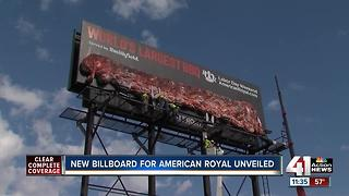 American Royal installs rack of ribs billboard - Video