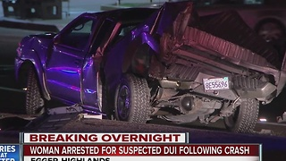 Woman arrested for suspected DUI following crash - Video