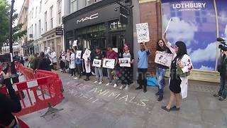 Animal rights activists protest against Mac cosmetics in Covent garden - Video