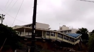 School in Southern Japan Partially Collapses After River Breaks Its Banks - Video