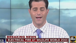 Fire crews battle fire at Wildlife World Zoo - Video