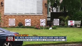 Neighborhood fired up after homophobic, anti-semitic signs in front yard - Video