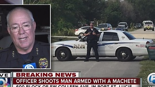 Officer shoots man armed with a machete in Port St. Lucie - Video