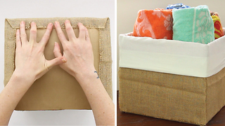 DIY How to transform a cardboard box into a stylish organizer - Video