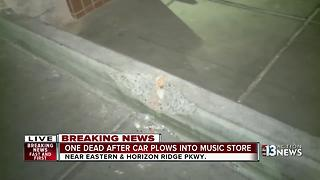 1 killed after car crashes into Henderson music store - Video