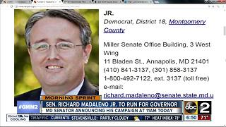 Maryland Sen. Madaleno Jr. to run for Governor - Video