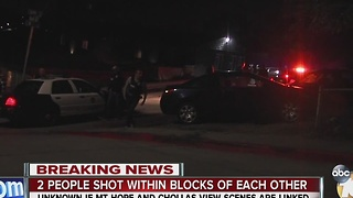 Two people shot within blocks of each other - Video