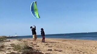 Dude gets hit in the head by fast flying kite