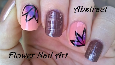 Abstract flower & dry brush nail art