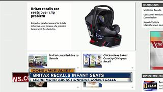 Britax recalls infant car seats over chest clip issue - Video