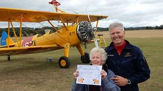 Daredevil gran taken to skies every year since husband's death - Video