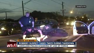 Dramatic LPD takedown of robbery suspect raises questions about excessive force - Video