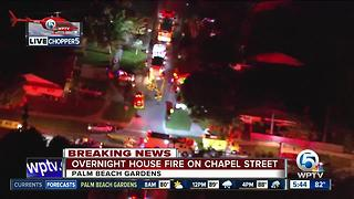 Overnight fire on Chapel Street near Palm Beach Gardens - Video