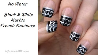 Black & white drag marble French tip nails - Video