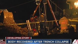 Crews recover man's body from collapsed trench - Video