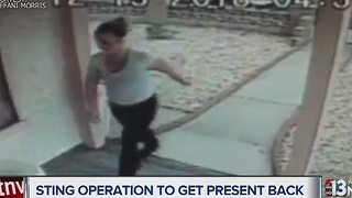 Couple sets up sting operation to get stolen present back - Video