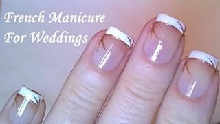 Wedding French manicure with gold lines - Video