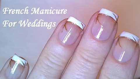 Wedding French manicure with gold lines