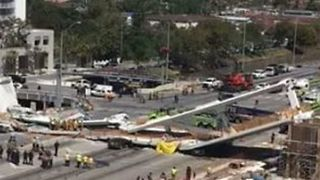 Cleanup Crews at Site of FIU Pedestrian Bridge Collapse - Video