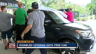 Disabled veteran finds new freedom after being given a car - Video