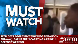 Teen Gets Aggressive Towards Female On Subway, Learns She's Carrying A Painful Defense Weapon - Video