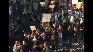 Climate Strike School Students Chant During March Through Brighton - Video