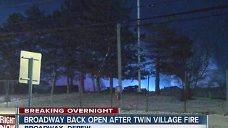 Fire at Twin Village recycling closed Broadway overnight - Video