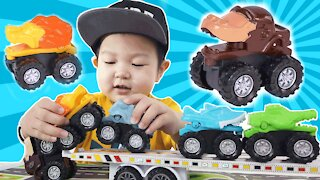 Jason Plays With Animal Monster Truck Toy