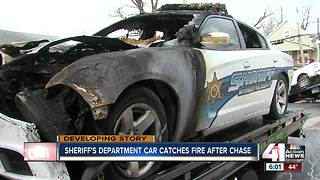 Wyandotte County Sheriff's car catches fire at end of police chase - Video