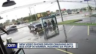 New video shows driver crashing into bus stop in Warren, injuring six people - Video