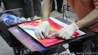 Spray Paint Artist Creates Beautiful Artwork In Minutes