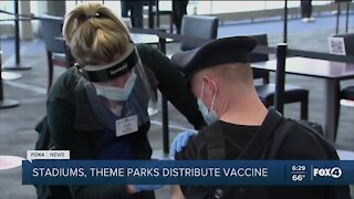 Stadiums, theme parks used for vaccination sites