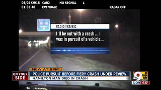 Police pursuit before fiery crash under review - Video