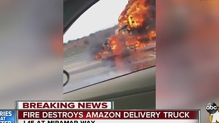 5 p.m. update: Fire destroys Amazon delivery truck - Video