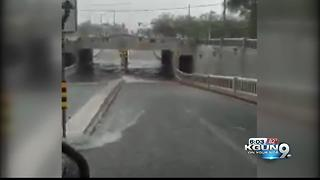 stone underpass is flooded - Video
