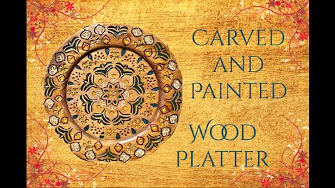 Carved and Painted Wood Platter