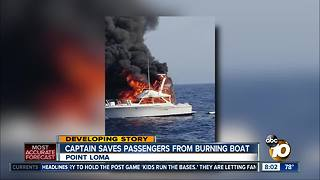 Captain saves passengers from burning fishing boat on San Diego coast - Video