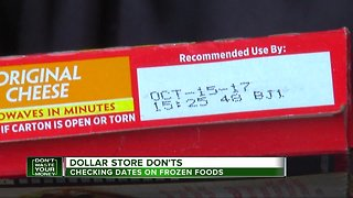 Dollar store don'ts: Checking dates on frozen foods