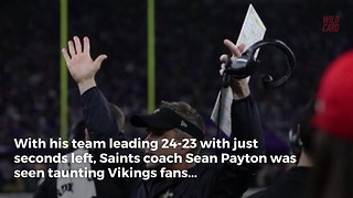 "Saints Coach Caught Mocking Fans With ""Skol Clap"" Seconds Before Vikings Won - Video"