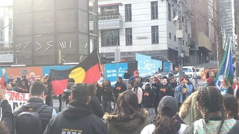 Young People Hold Rally Against Climate Change at Melbourne Town Hall