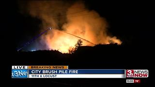 City brush pile fire - Video