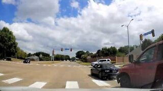 Angry driver wants get out of moving car after crash