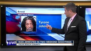 Suspect arrested in 2 weekend shooting in Palm Beach County