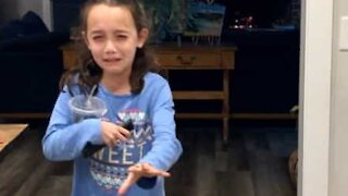 Little girl reacts to fake poop prank
