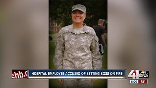Hospital employee on trial, accused of setting boss on fire - Video