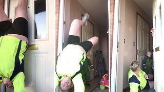 Mom's Handstand Goes Wrong As She Nearly Lands On Her Son - Video