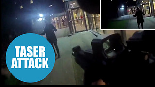 Footage shows firearms officers disarming knifeman with taser - Video