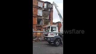 Glasgow tenement partially collapses during Storm Ophelia - Video